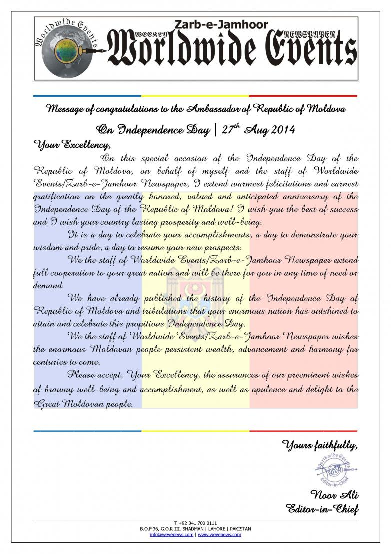 Message of Congratulations to the Ambassador of Oriental Republic of Moldova on Independence Day, 27 Aug 2014.jpg