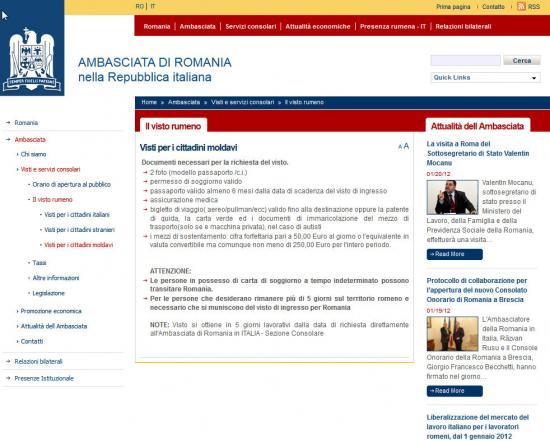 romania - Visto, Permesso e Carta di Soggiorno - Ambasada.it ...